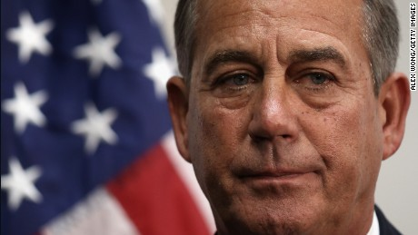 Caption: 	WASHINGTON, DC - JANUARY 14: U.S. Speaker of the House Rep. John Boehner (R-OH) listens during a news briefing after a House Republican Conference meeting January 14, 2014 on Capitol Hill in Washington, DC. Congressional negotiators have reached to an agreement of a $1.1 trillion spending bill to avoid another government shutdown when the current funding ends tomorrow. (Photo by Alex Wong/Getty Images)