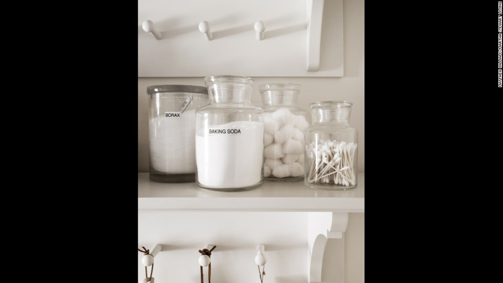 Replace bulky boxes of laundry detergent and stain-treatment materials, such as baking soda and cotton balls, with refillable clear containers.
