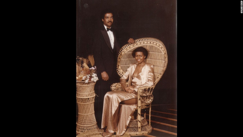 Obama attends prom in 1982 with her first boyfriend, David Upchurch.