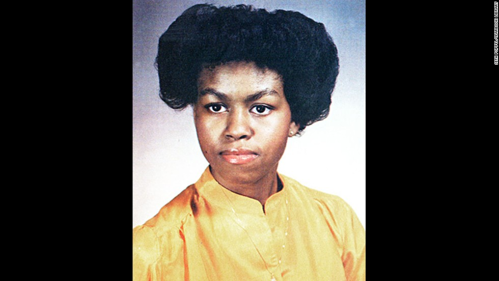 Obama, seen here in her 1981 yearbook photo, was salutatorian of her high school's senior class.