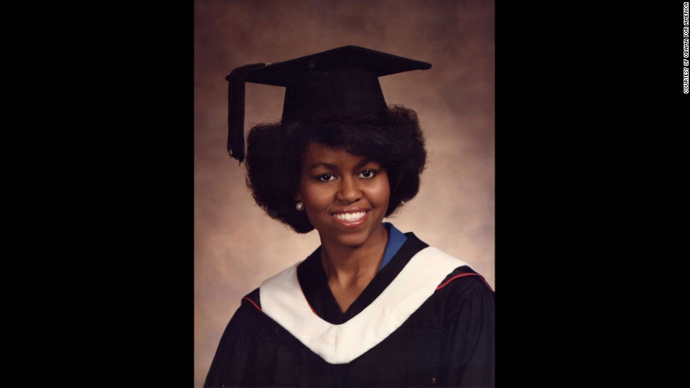 Obama graduated from Princeton University in 1985. She received a bachelor's degree in sociology and minored in African-American studies.