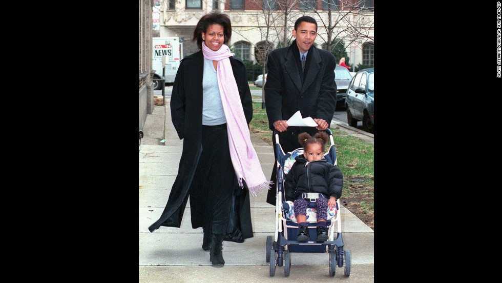 The Obamas are seen in March 2000, when Barack Obama, then an Illinois state senator, was running for the U.S. House of Representatives. He lost the Democratic primary to four-term incumbent Bobby Rush.