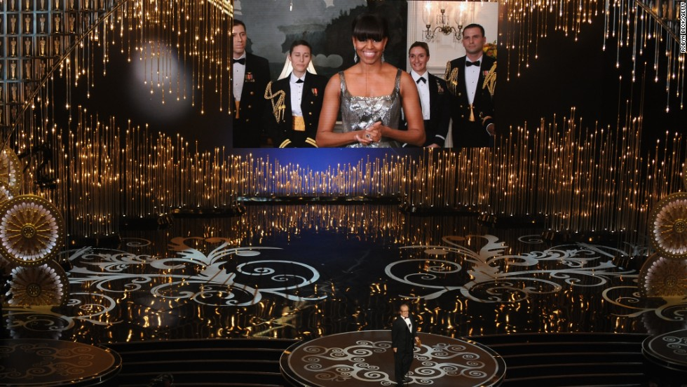 Michelle Obama, via satellite, announces the Oscar for best picture at the end of the Academy Awards show in February.