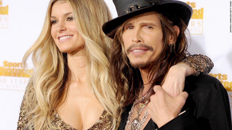 Aerosmith's Steven Tyler was also at the party. He is pictured here with model Marisa Miller.