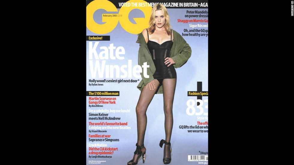 "Kate Winslet has famously rejected retouching since her cover shoot for the February 2003 issue of GQ. Regarding the issue, she stated, ""The retouching is excessive. I do not look like that, and more importantly, I don't desire to look like that."" She also mentioned, ""I actually have a Polaroid that the photographer gave me on the day of the shoot. ... I can tell you they've reduced the size of my legs by about a third. For my money, it looks pretty good the way it was taken."""