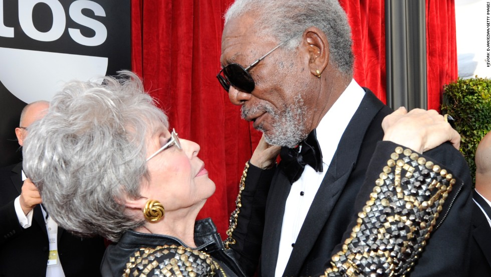 Rita Moreno and Morgan Freeman