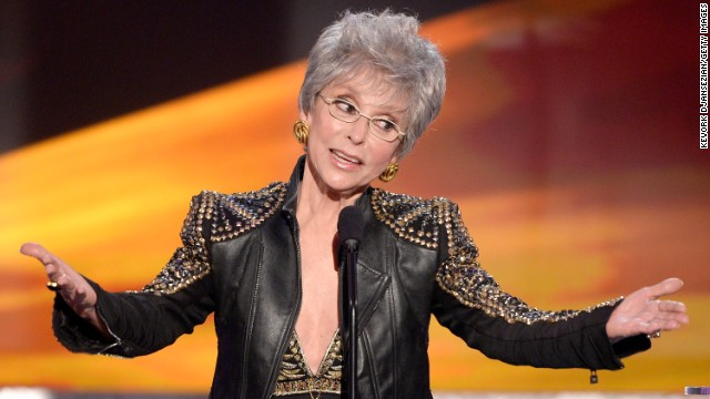 LOS ANGELES, CA - JANUARY 18:  Actress Rita Moreno accepts the Screen Actors Guild Life Achievement Award onstage during the 20th Annual Screen Actors Guild Awards at The Shrine Auditorium on January 18, 2014 in Los Angeles, California.  (Photo by Kevork Djansezian/Getty Images)