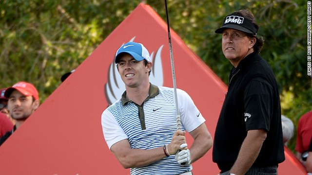 It just wasn't Rory McIlroy (left) and Phil Mickelson's day at the final round in Abu Dhabi even though both hit form.