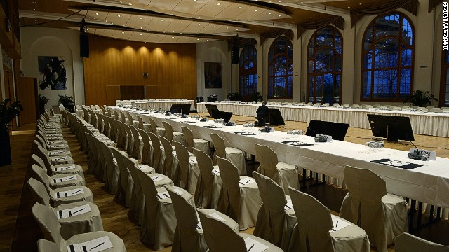 "A picture taken on January 20, 2014 in Montreux shows the Syria peace conference room at the conference centre ""Le Petit Palace"" as part of the Montreux-Palace, the hotel that will host from wednesday the so-called Geneva II peace talks. AFP PHOTO/PHILIPPE DESMAZESPHILIPPE DESMAZES/AFP/Getty Images"
