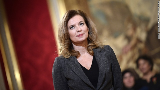 French president Francois Hollande's companion Valerie Trierweiler attends a Family Medal ceremony on November 30, 2013 at the Elysee palace in Paris.