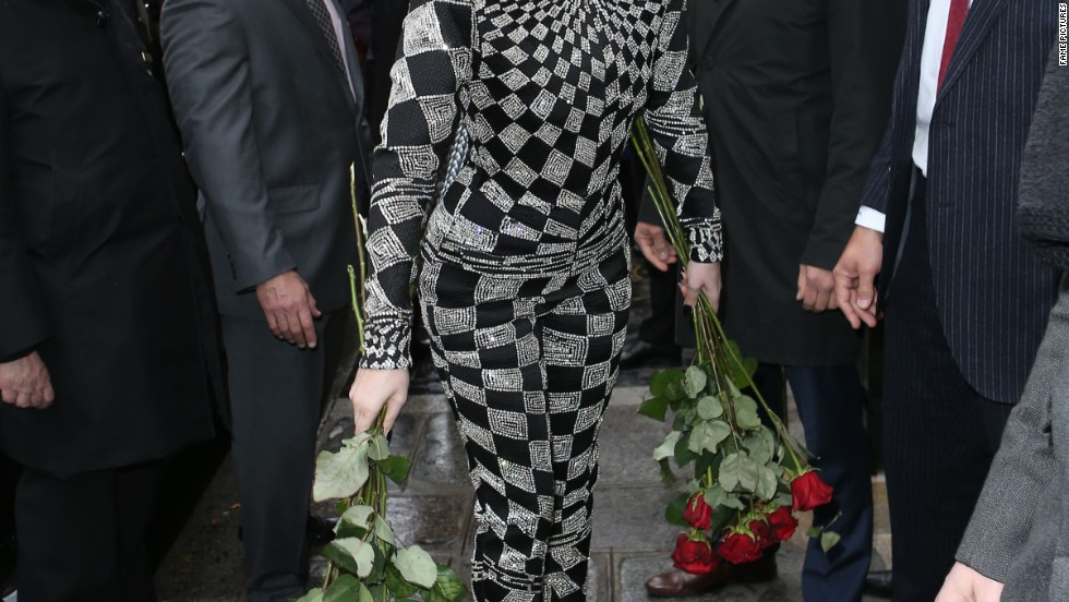 Lady Gaga is feeling the love in Paris, France on January 20.