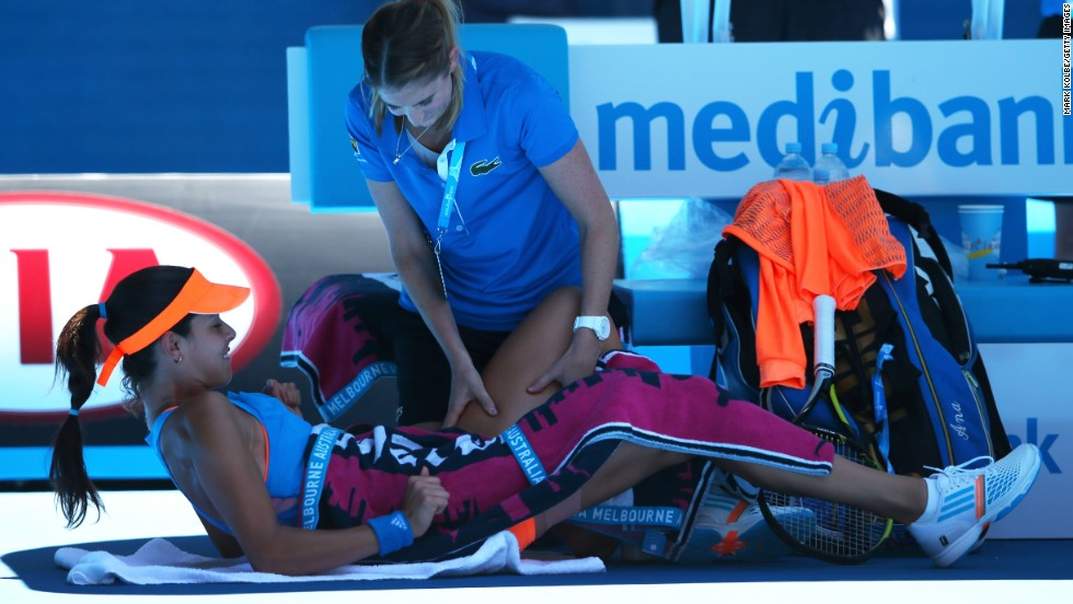 During the match Ivanovic received treatment on an injury to her left leg, while also revealing she had been struggling with a problem in her right leg throughout the tournament.