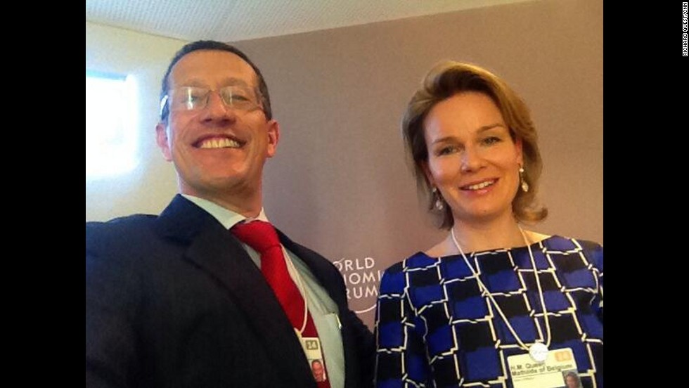 In Davos, to opportunities to meet the powerful and famous are endless. Here, CNN's Richard Quests takes a selfie with Queen Mathilde of Belgium.