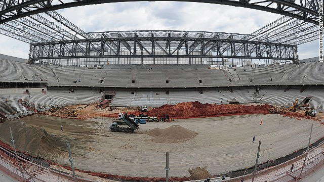 Construction has slowed at the Arena da Baixada World Cup venue in Curitiba, Brazil, shown here in December 2013.