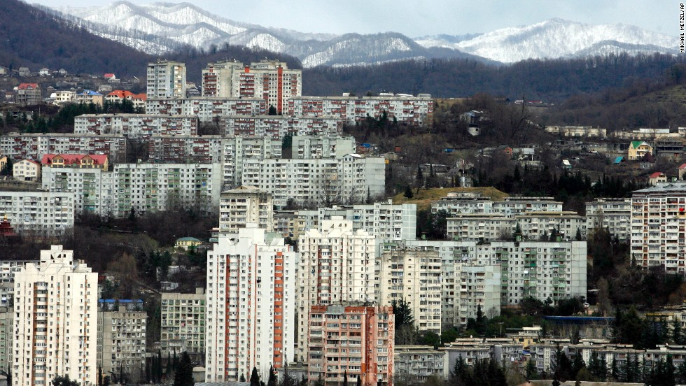 Soaring snowcapped peaks, some topping 10,000 feet, tower over the Black Sea resort city of Sochi on January 22, 2007. These are Russia's first Olympic Games, although the former Soviet Union hosted the 1980 Summer Olympic Games in Moscow.