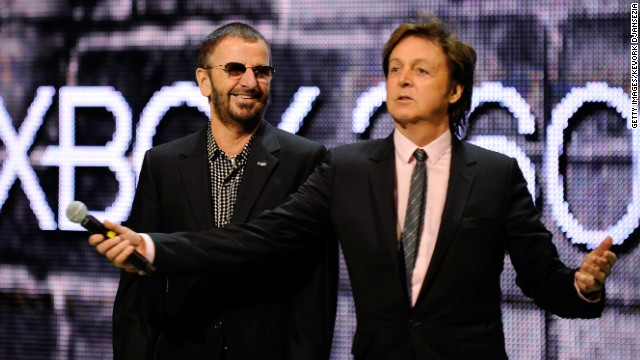 Ringo Starr and Paul McCartney appear together at the E3 Gaming Conference in 2009.