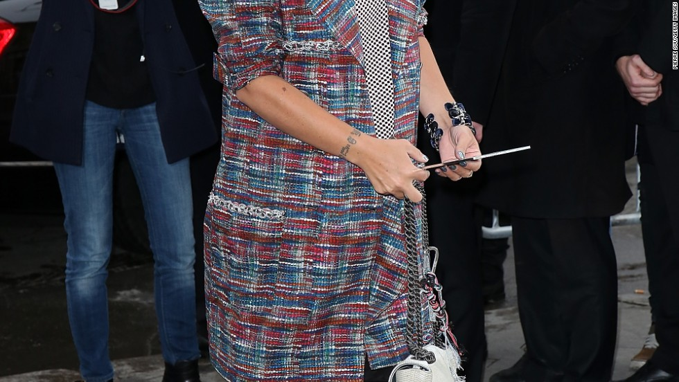 Lily Allen attends the Chanel show during Paris Fashion Week on January 21.