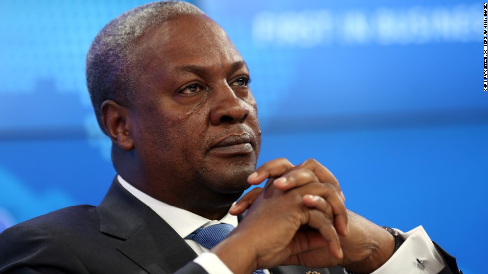 John Dramani Mahama, Ghana's president, pauses during a session on the opening day of the World Economic Forum (WEF) in Davos, Switzerland, on Wednesday, Jan. 22, 2014. World leaders, influential executives, bankers and policy makers attend the 44th annual meeting of the World Economic Forum in Davos, the five day event runs from Jan. 22-25. Photographer: Chris Ratcliffe/Bloomberg via Getty Images