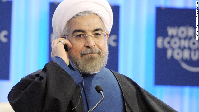 Iranian president Hassan Rouhani listens after his address at the World Economic Forum in Davos on January 23, 2014. Some 40 world leaders gather in the Swiss ski resort Davos to discuss and debate a wide range of issues including the causes of conflicts plaguing the Middle East, and how to reinvigorate the global economy. AFP PHOTO ERIC PIERMONT (Photo credit should read ERIC PIERMONT/AFP/Getty Images)