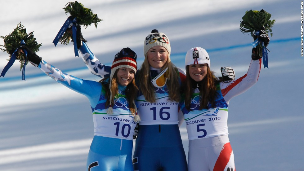 (From left to right) Mancuso finished half a second behind Vonn in the women's downhill at the last Olympics in Vancouver, but was a further second quicker than bronze medalist Elisabeth Gorgl.