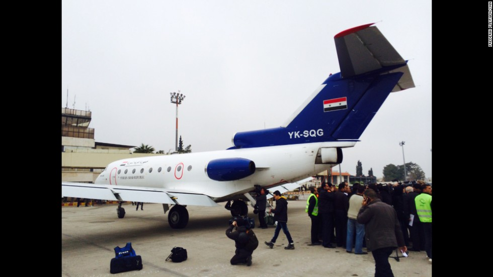 While reporting on the ground in Damascus, CNN reporter Frederik Pleitgen and other journalists were taken on a surprise trip by government forces to Aleppo, Syria, the epicenter of the almost three-year civil war. Above is the Soviet-made Yakovlev YAK-40 airplane that carried the journalists to the war zone, and the first civilian aircraft to land in the city since December 2012. Click through see other images taken by Pleitgen on his government-guided tour of Aleppo.