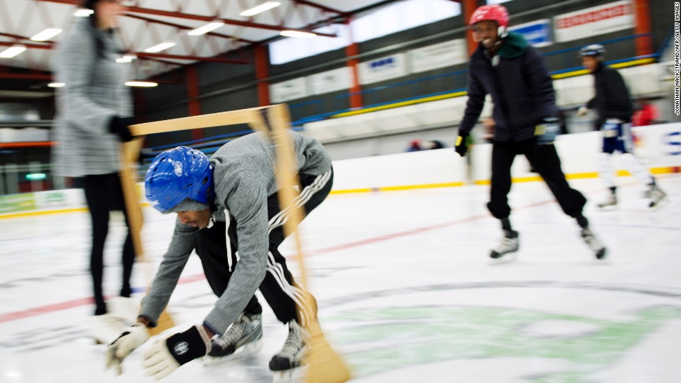 At first they could barely stand on their feet, but now train for two hours a day on the ice -- often opting to keep training after their coach ends the session.