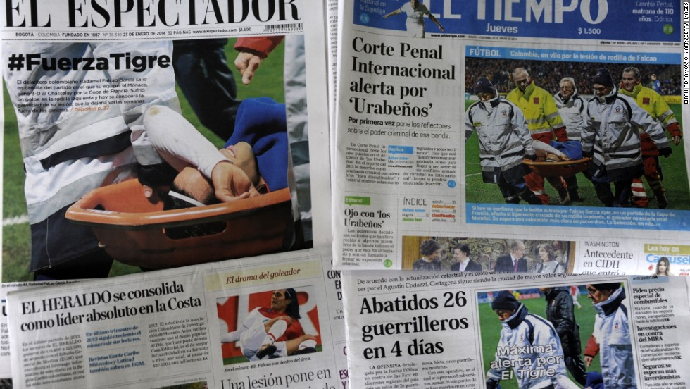 Falcao's injury was front page news back in his homeland.