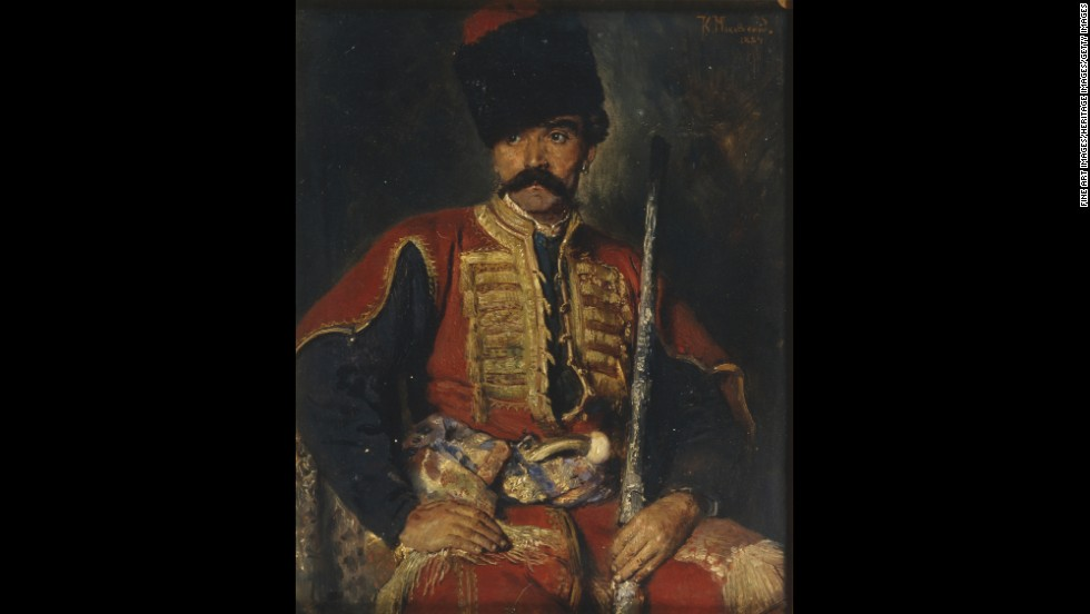 Known for rebelling against Russia's feudal system, the Cossacks allied with Russia's tsars to help create the monolithic Russian Empire.  This 19th century painting depicts a Zaporozhian Cossack from modern-day Ukraine.
