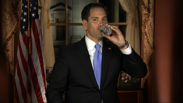 In this frame grab from video, Florida Sen. Marco Rubio takes a sip of water during his Republican response to President Barack Obama's State of the Union address, Tuesday, Feb. 12, 2013, in Washington. (AP Photo)