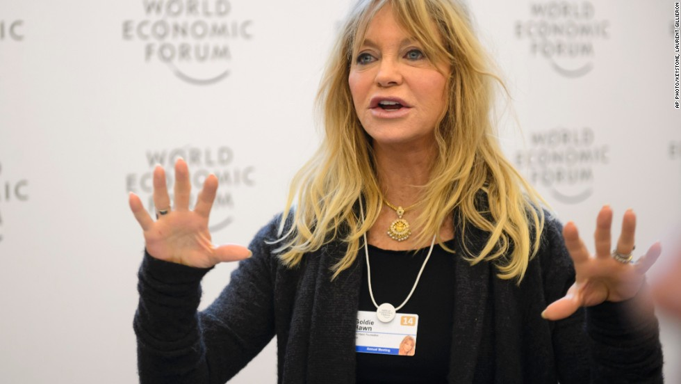 Hawn speaks during a panel session on the second day of the World Economic Forum meeting in Davos on Thursday, January 23, 2014.