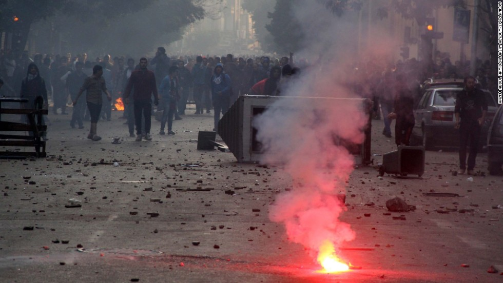 Supporters of the Muslim Brotherhood clash with security forces in Cairo.