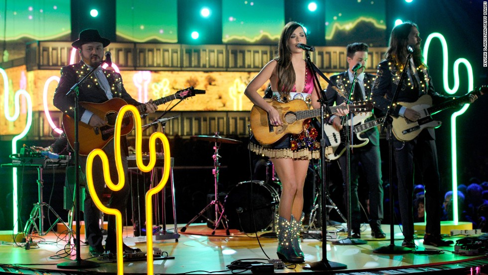 "Country singer Kacey Musgraves lights up the stage with her hit song ""Follow Your Arrow."""