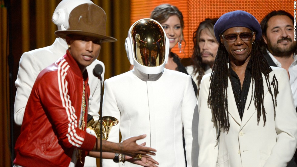 "<strong>Record of the year:</strong> ""Get Lucky"" by Daft Punk featuring Pharrell Williams and Nile Rodgers. The song also won best pop duo/group performance."
