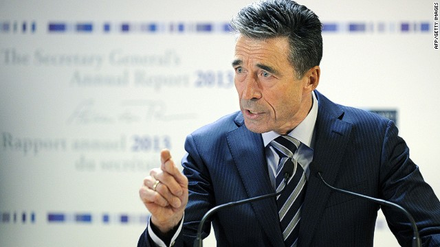 Secretary-General of the North Atlantic Treaty Organization (NATO) Anders Fogh Rasmussen delivers a speech during the release of NATO's annual report at the NATO headquarters in Brussels, on January 27, 2014. AFP PHOTO / JOHN THYSJOHN THYS/AFP/Getty Images
