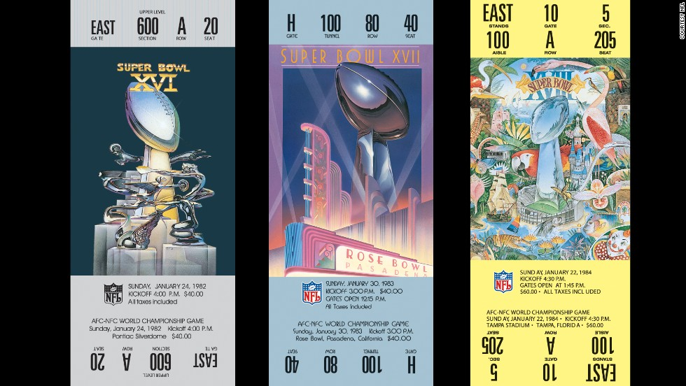 Tickets for Super Bowls XVI, XVII and XVIII.