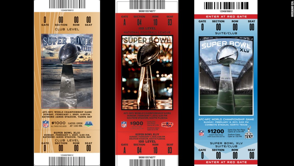 Tickets for Super Bowls XLIII, XLIV and XLV.