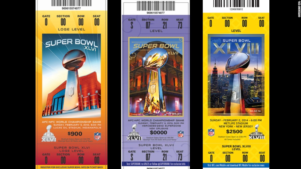 Tickets for Super Bowls XLVI, XLVII and XLVIII.