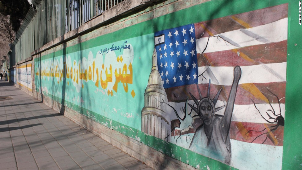 "Anti-American murals outside the former US Embassy in Tehran.  Photo by CNN's Jennifer Rizzo.   <a href=""http://instagram.com/p/jsTiVWPKMO/"" target=""_blank"">WATCH THE INSTAGRAM VIDEO</a>   by CNN's Jim Sciutto and see how they are toning down the anti-American murals outside the former US Embassy.  Follow Jim (<a href=""http://instagram.com/jimsciutto"" target=""_blank"">@jimsciutto</a>) on Instagram for more photos from inside Iran."