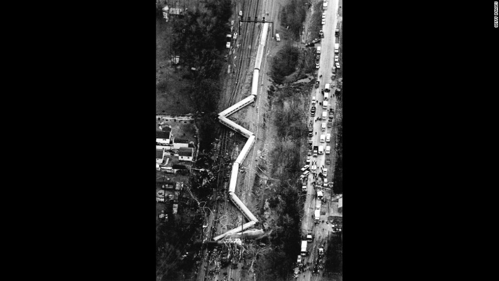 An aerial view of the damage caused in Maryland when an Amtrak train collided with three Conrail freight locomotives. More than a dozen people were killed.