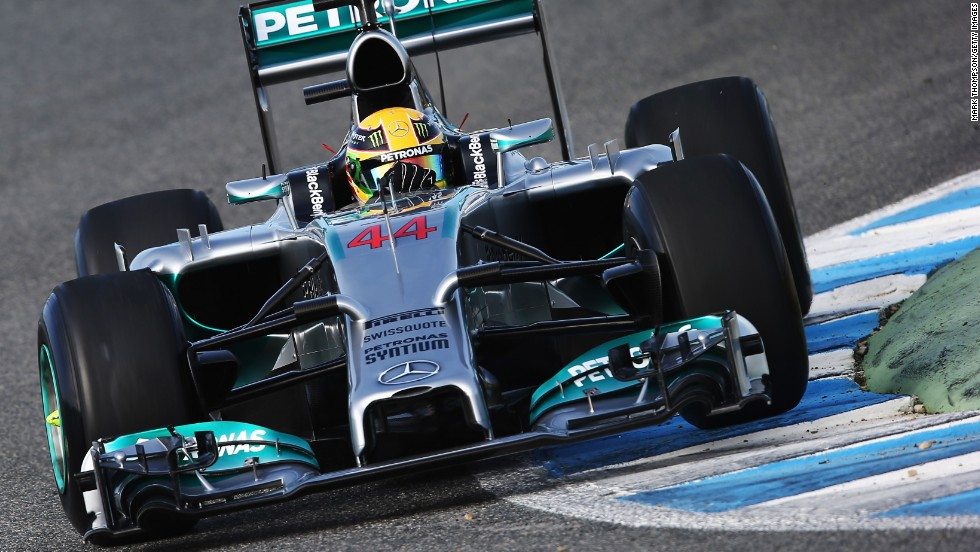 Mercedes is running a message of support for Michael Schumacher on its 2014 Formula One car. The Mercedes, piloted by Lewis Hamilton, was the first 2014 car to take to the track as winter testing opened in Jerez, Spain.