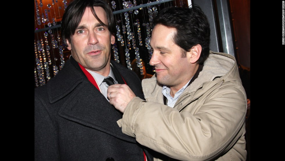 "Hollywood hunks Jon Hamm, left, and Paul Rudd have a friendship that's lasted for years. Their bond stretches all the way back to high school, and Hamm still calls Rudd <a href=""tvline.com/2011/06/20/emmy-jon-hamm-career-don-draper-comedy/"" target=""_blank"">one of his oldest pals in Hollywood.</a>"