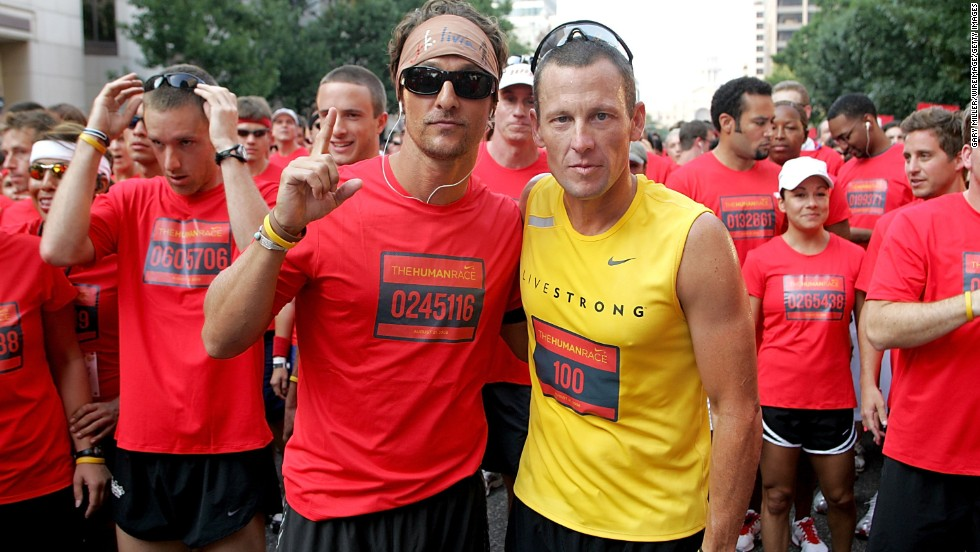 "Matthew McConaughey, left, has stood by his friend Lance Armstrong as he's faced backlash from his 2013 doping scandal. The two Texas natives have known each other for years, and <a href=""http://www.mtv.com/news/articles/1700519/lance-armstrong-scandal-matthew-mcconaughey-comment.jhtml"" target=""_blank"">McConaughey admitted that his first reaction</a> was to be angry at and sad for his pal. ""I had a part of me that took it kind of personally,"" McConaughey said, but he soon realized ""that those of us that took that personally, like, 'Oh, he lied to me,' it's not true. ... Where I am now is I've put myself out of the way and I am happy for this guy, who has now chosen to re-enter this new chapter of his life a truly free man."""
