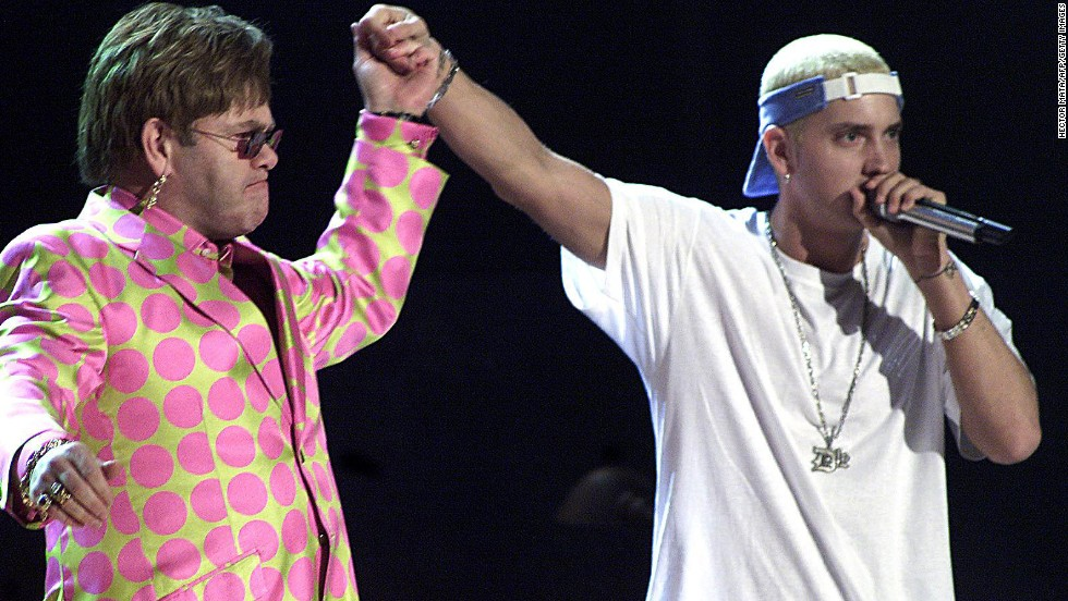 With Eminem being accused of rapping homophobic lyrics, you might be surprised that he and Elton John are buds. But the two musicians have a friendship that's lasted for years -- they performed together at the 2001 Grammy Awards -- and Slim Shady leaned on the legend for support as he worked toward sobriety in the late aughts.