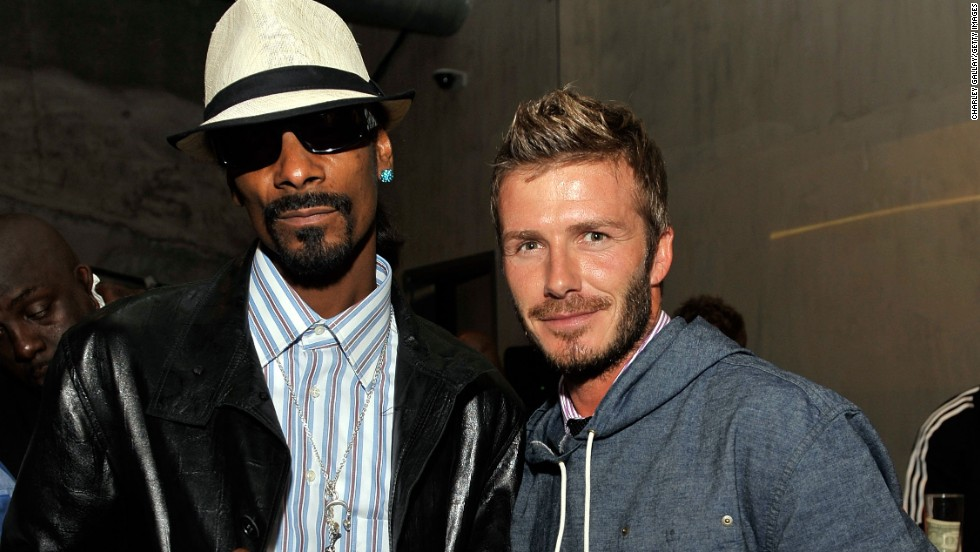 "Snoop Dogg, left, and David Beckham are such good friends, <a href=""http://www.nme.com/news/snoop-dogg/56893#if5IJwSRhRekX9sO.99"" target=""_blank"">the rapper will preview his songs</a> for the British athlete. ""When I make my records, he's one of the first people I send the record to before it's done, even before the label get it,"" he's said."