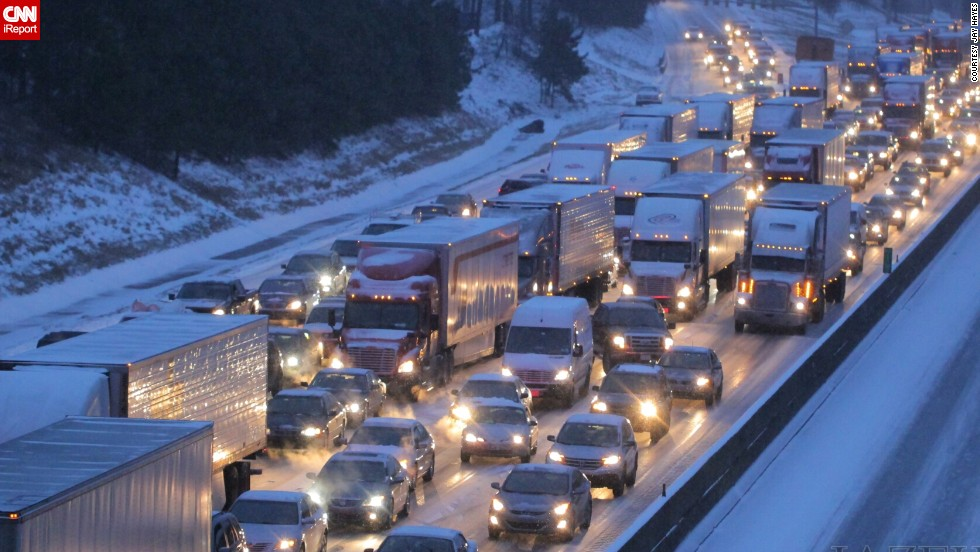 "Officials said that 1,254 accidents were reported in Georgia's snowstorm. <a href=""http://ireport.cnn.com/docs/DOC-1079207"">Jay Hayes</a> shot this photo of I-285 around 5 p.m. Tuesday. ""I've lived in Atlanta since 2001, and I have never come across a situation where the city was so unprepared,"" he said."