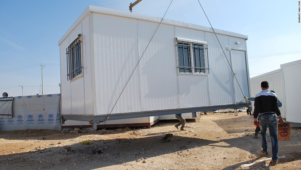 "There are more than 17,000 pre-fabricated homes in Zaatari. Each unit holds a family of five and costs $3,000. But in Zaatari's ""gray market"" they sell for $1,000 each."