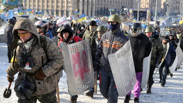 'Maidan' (name given by Ukrainian anti-government protesters to Independence square in Kiev, their main rally point) self-defence troops rally in Kiev on January 29, 2014, marking the 96th anniversary of a battle near the small city of Kruty.
