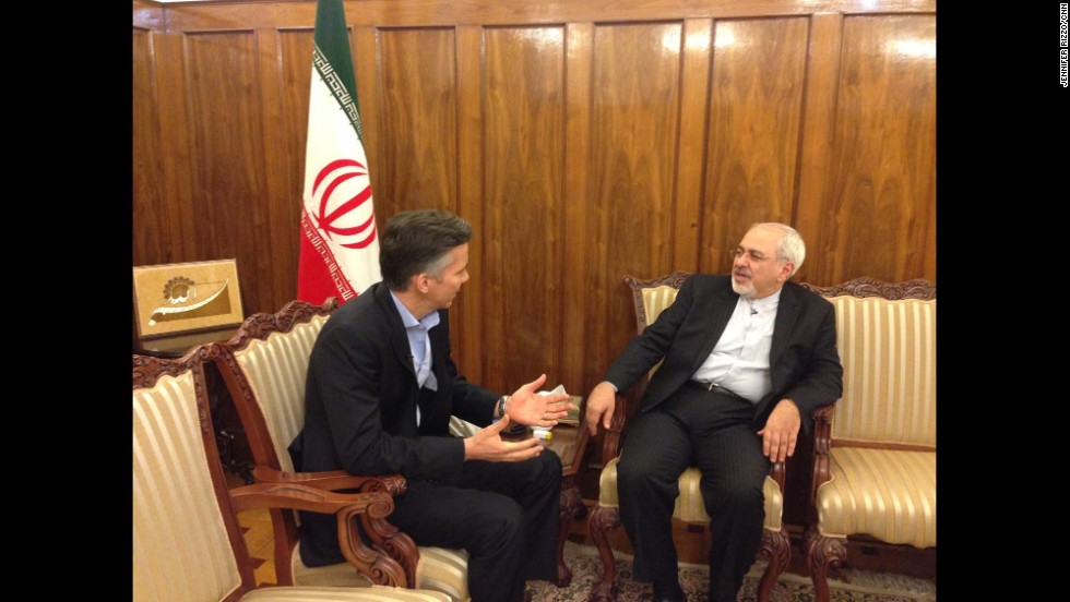 """Here I am sitting down in Iranian FM Zarif's office after his grueling 16-hr working day on January 29.  I sat down with Zarif for an exclusive interview focusing on Iran's reaction to the SOTU speech."" - CNN's Jim Sciutto.  Photo by CNN's Jennifer Rizzo.  Follow Jim (<a href=""http://instagram.com/jimsciutto"" target=""_blank"">@jimsciutto</a>) on Instagram for more photos from inside Iran."