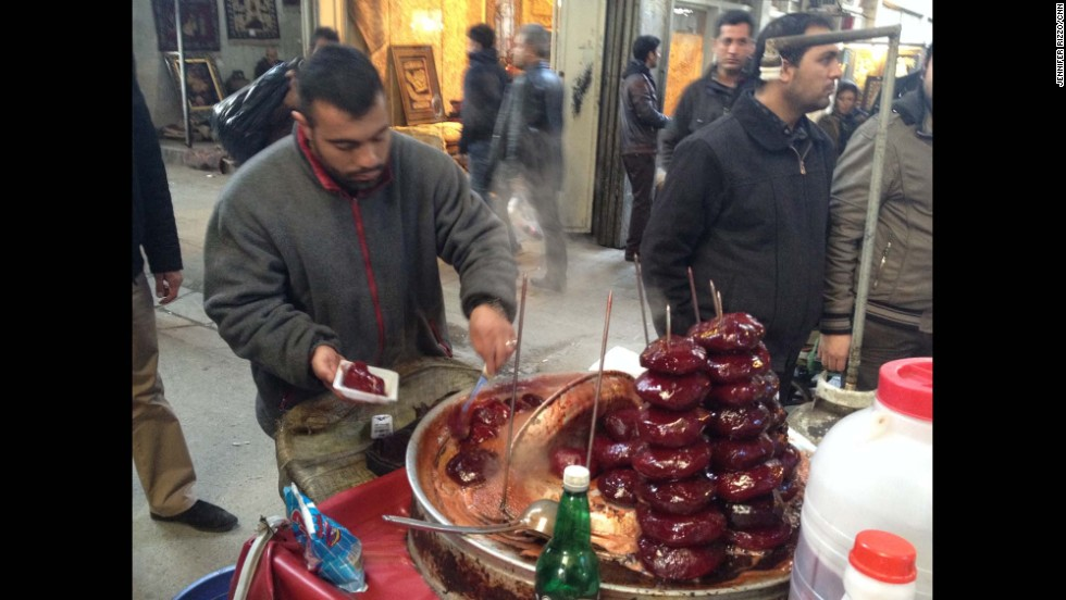 "A street vendor sells Persian sugar beet snacks (laboo) in Tehran's main bazaar - peeled, boiled beets skewered one on top of another in a cart, hot to the touch.  Photo by CNN's Jennifer Rizzo.  <a href=""http://instagram.com/p/jmIBhBPKDp/"" target=""_blank"">WATCH THE INSTAGRAM VIDEO </a>  by CNN's Jim Sciutto as he samples this Persian delicacy.  Follow Jim (<a href=""http://instagram.com/jimsciutto"" target=""_blank"">@jimsciutto</a>) on Instagram for more photos from inside Iran."