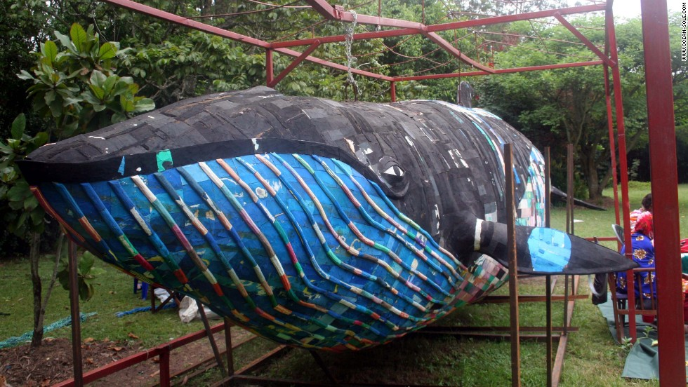In 2006, Ocean Sole commissioned Kenyan sculptor Kioko Mutiki to create a full size Minke whale from ipops and wire mesh. Called Mfalme, the whale is on display at Haller Park in Mombasa, where it's visited by more than 1000 children a week.